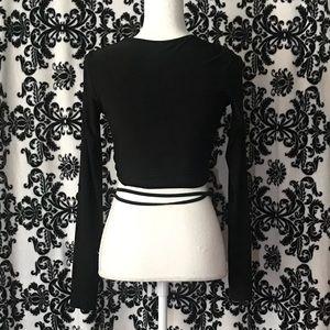 4309a0de227 PrettyLittleThing Tops | Black Slinky Long Sleeve Tie Waist Crop Top ...